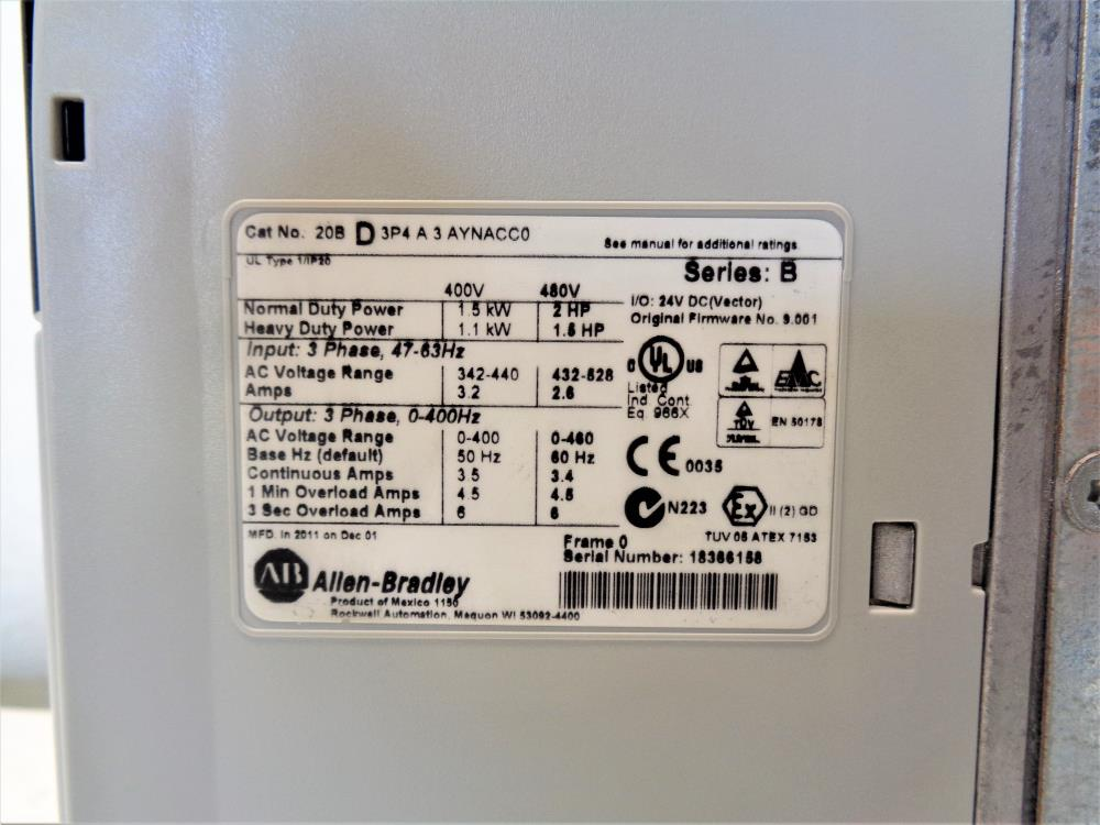Allen-Bradley PowerFlex 700 Adjustable Frequency AC Drive 20BD3P4A3AYNACC0