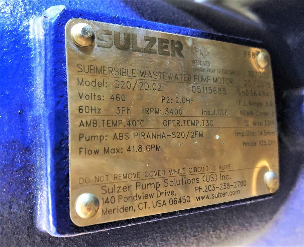 Sulzer ABS Piranha S20 Submersible Wastewater Pump