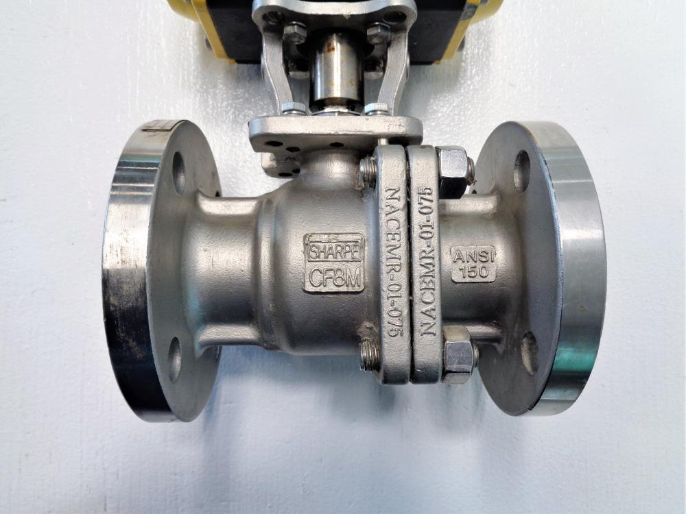 "Sharpe 1-1/2"" 150# Flanged Ball Valve, Stainless Steel w/ Actuator SPNII063"