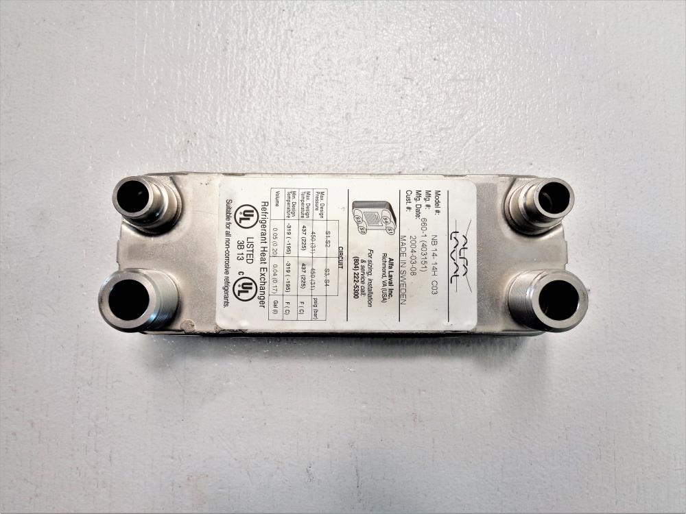 Alfa Laval Brazed Plate Heat Exchanger for Refrigerant, 14 Plates, NB14- 14H C03