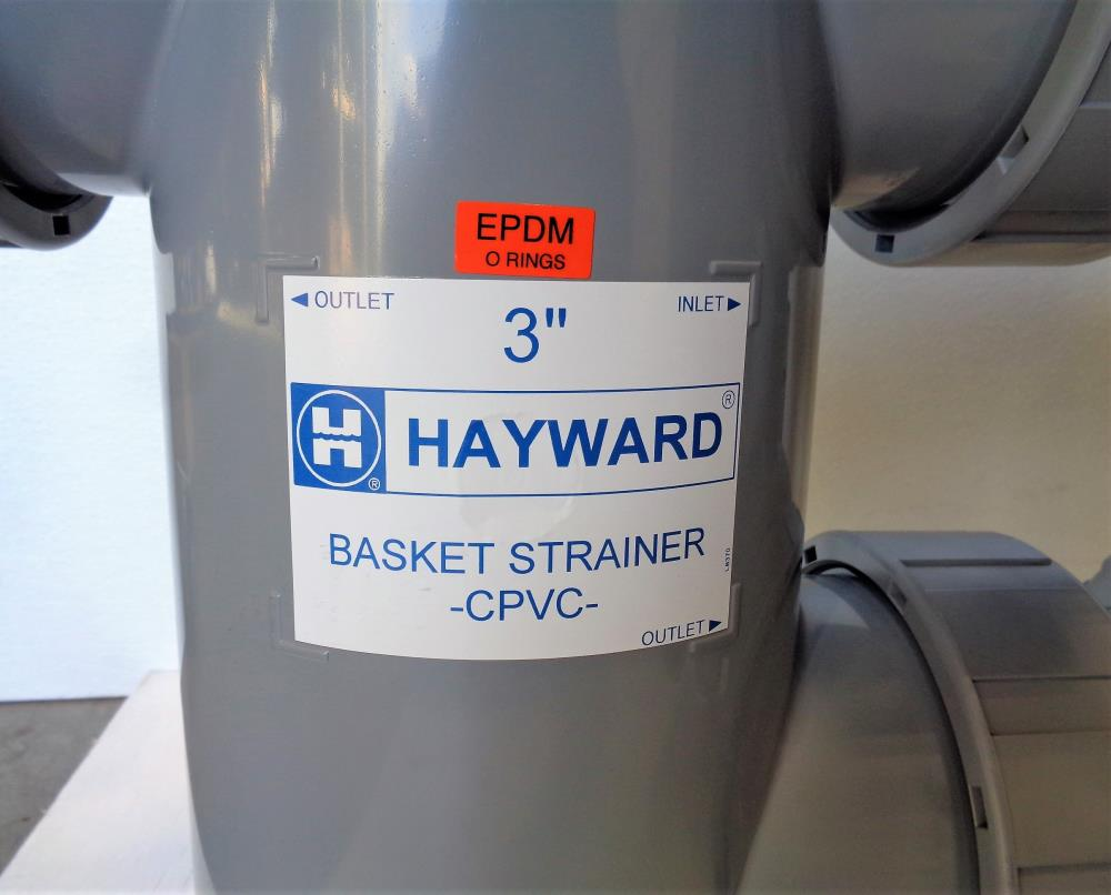 "Hayward 3"" CPVC Duplex Flanged Strainer Assembly w/ 4"" CPVC Baskets"