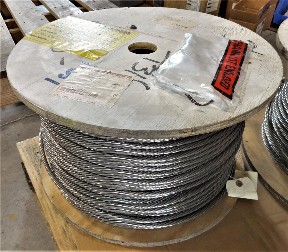 "ALPS 1x7 STRAND 3/8"" 316 STAINLESS STEEL MESSENGER WIRE ROPE - 50 FT LENGTH CUTS"