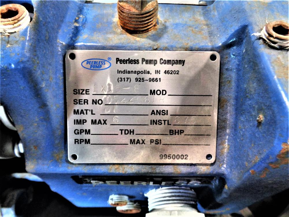 "Peerless Pump Centrifugal Pump, Ductile Iron 1"" x 1.5"" - 8 with Motor"