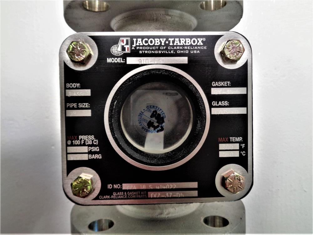 "Jacoby Tarbox 2"" Flanged Sight Glass Valve, Stainless, #910-FA"