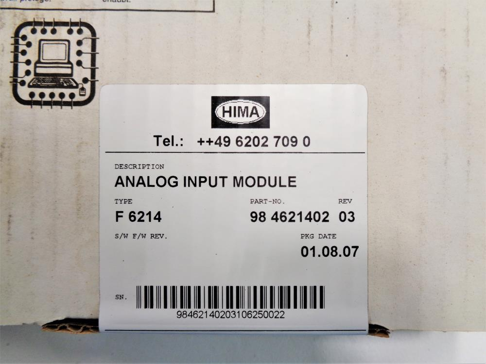Hima F 6214 Analog Input Module 98 4621402 - Factory Sealed
