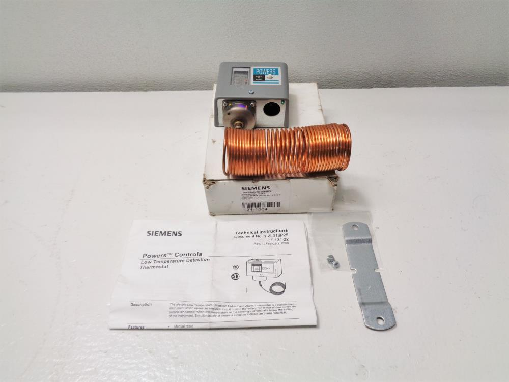 Siemens Powers Controls Low Temperature Detection Thermostat 134-1504