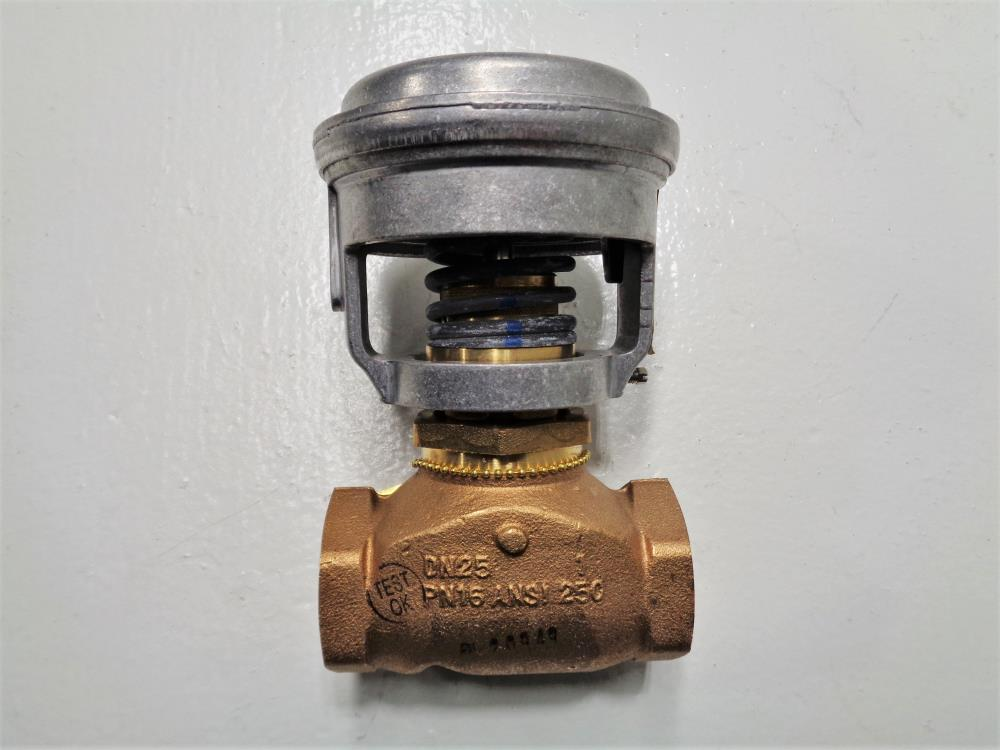 "Johnson Controls 1"" Bronze Control Valve VG7241NT+3008E0 w/ Actuator V-3000-8011"