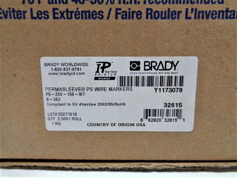 Brady Permasleeve Wire Markers PS-250-150-WT
