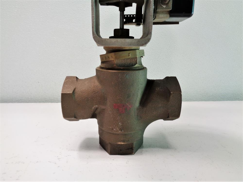 "Johnson Controls 1.5"" NPT 3 -Way Mixing Valve V-5844-2 W/ Actuator 4R"