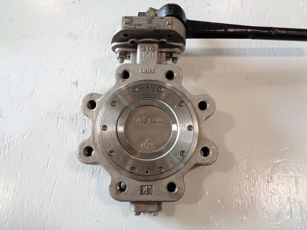 "Sure Seal 4"" 150# 316 Stainless Steel Butterfly Valve"