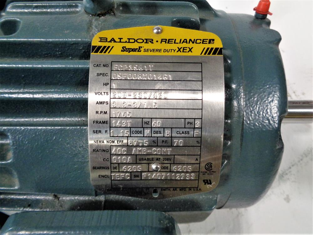Baldor Reliance 1HP Super-E Severe Duty XEX Motor ECP3581T, 0SF008X01461