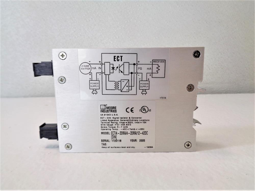 Moore ECT DIN Signal Isolator & Converter ECT/4-40MA/4-20MA/12-42DC [DIN]