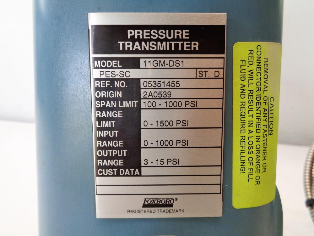 "Foxboro Pressure Transmitter 11GM-DS1 with 1"" 300# Diaphragm Seal"
