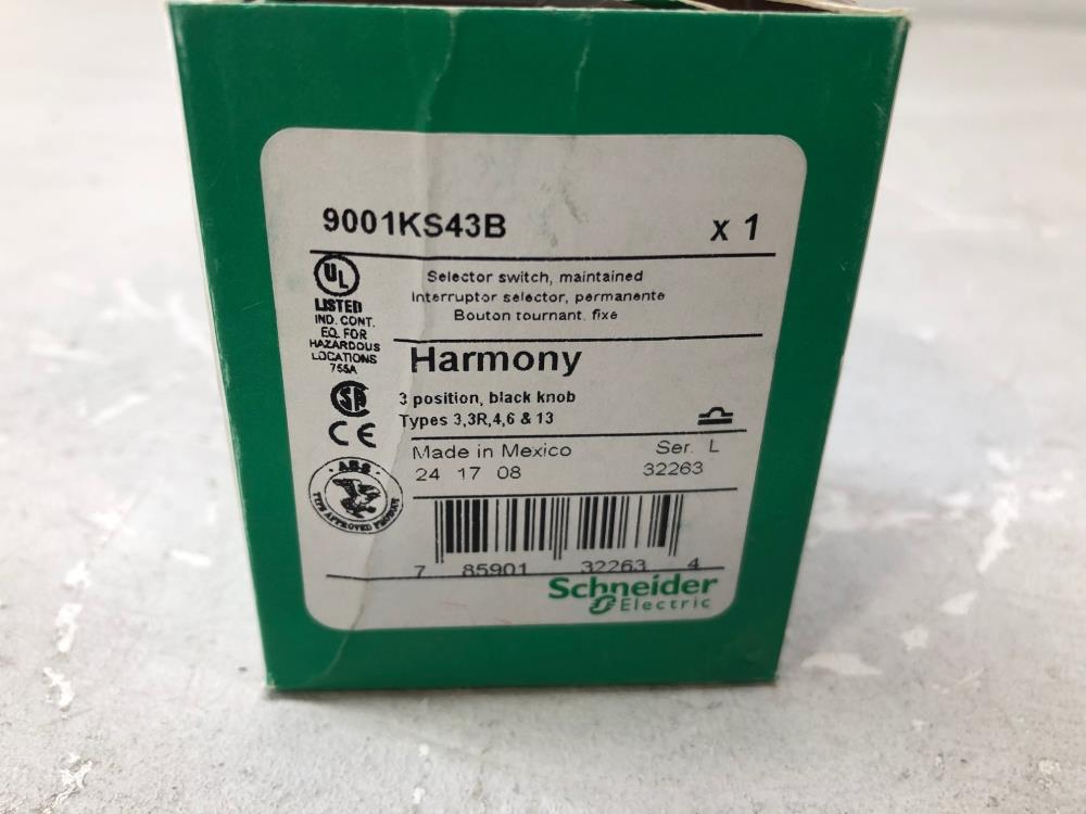 Lot of (7) Schneider Electric Harmony Selector Switch 9007KS43B