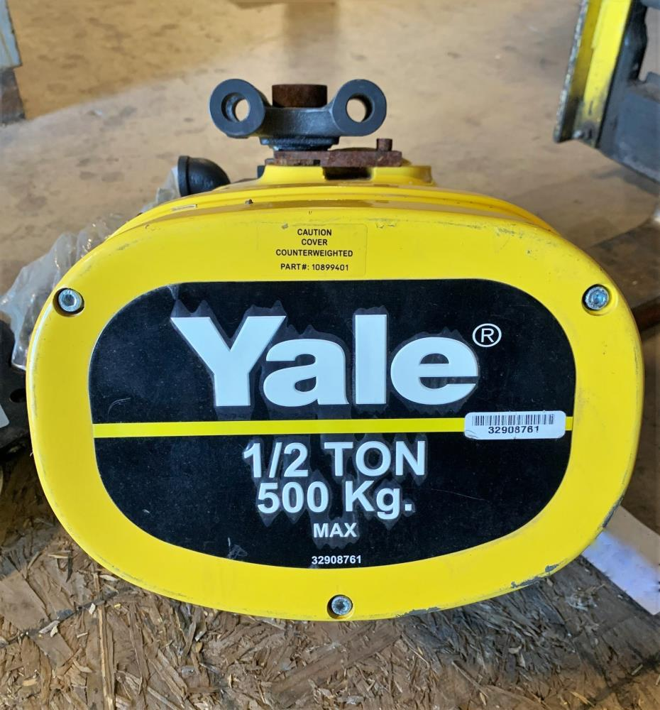Yale 1/2 Ton Air Chain Hoist KALC5016, Brass Budgit Push Trolleys 905462 & Hose