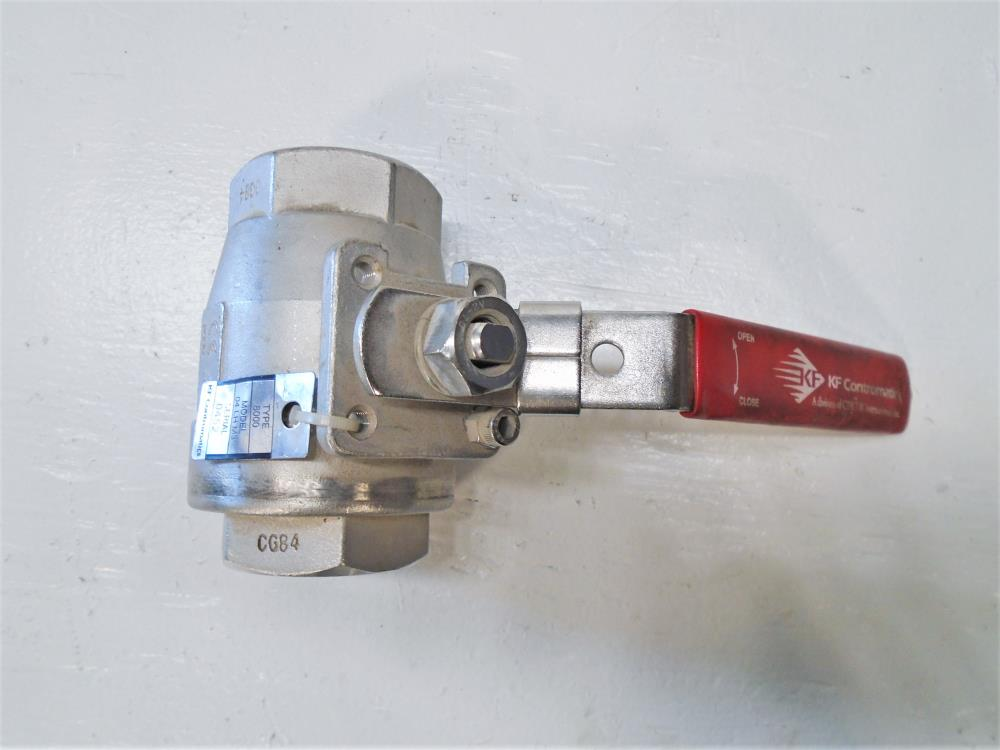 "KF Contromatics 1-1/2"" NPT CF8M Ball Valve, Type 8000, Model 04 LH M3"