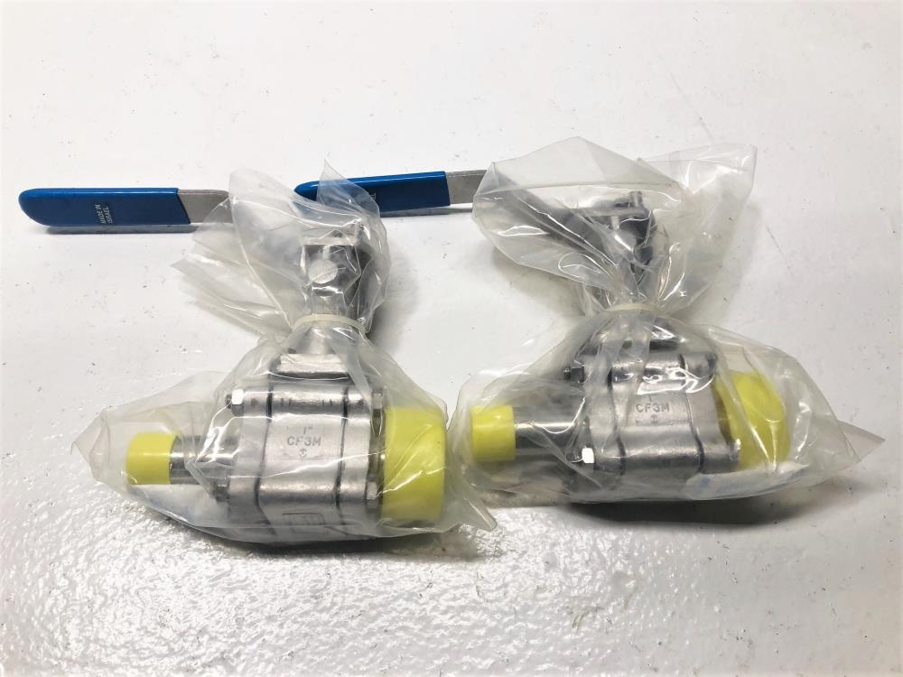 "Lot of (2) Habonim 1"" Clamp x 1"" Weld Sanitary Ball Valve, Extended, Stainless"