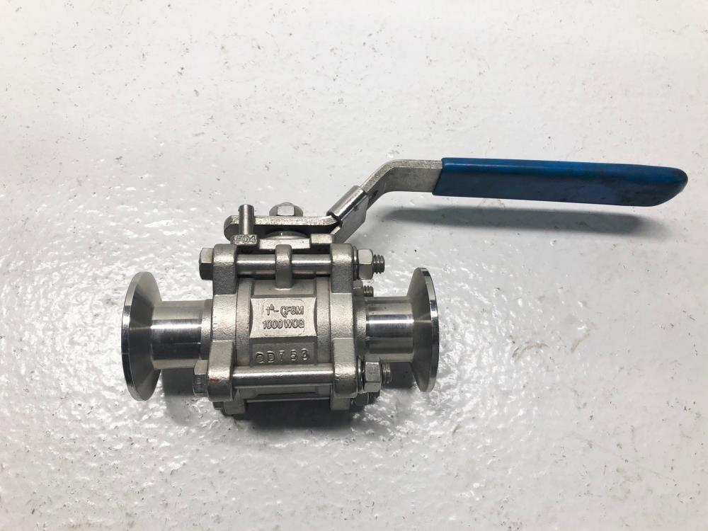 "WCB-Flow Products 1"" Tri-Clamp Sanitary Valve, Stainless, 1000 WOG"