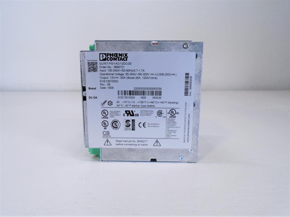 Phoenix Contact Enclosed AC DC Converter, Quint-PS/1AC/12DC/20, 2866721