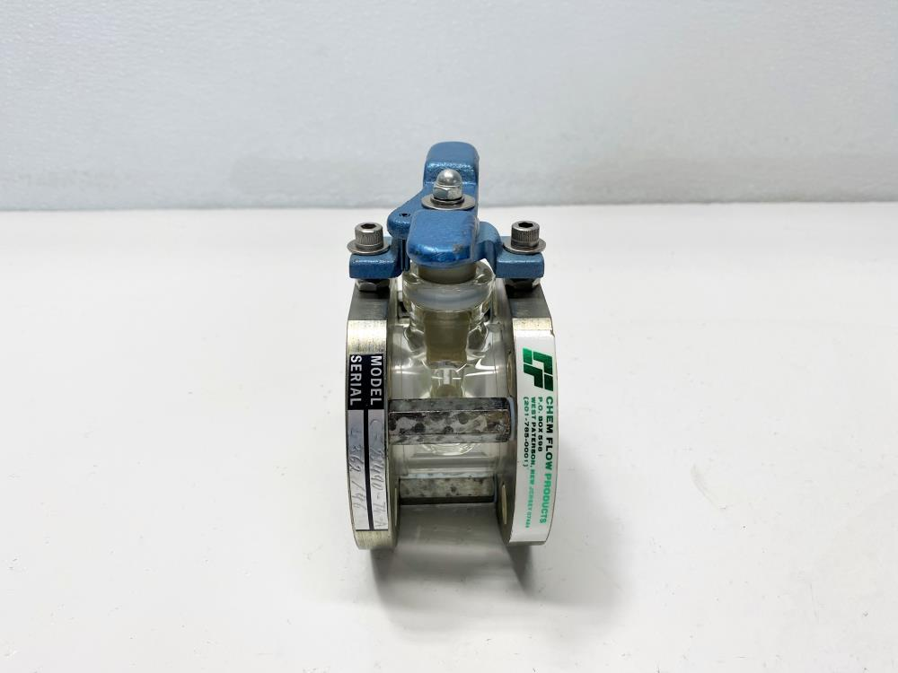 Chem Flow Chemical Glass Ball Valve, Teflon Lined CF2490-74-A