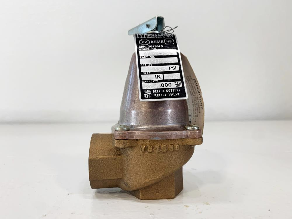 "ITT Bell and Gossett 1"" NPT 125# Bronze Relief Valve 1170-125, 110135"