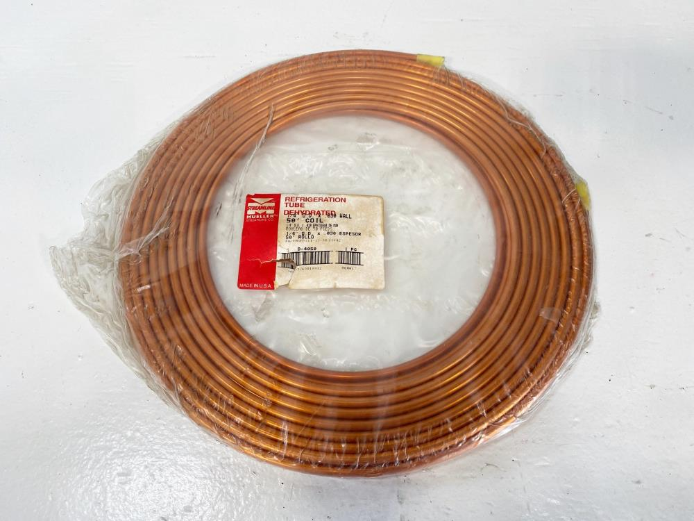 "Lot of (3) Mueller 1/4"" x 50' Dehydrated Copper Refrigeration Tubing D-4050"