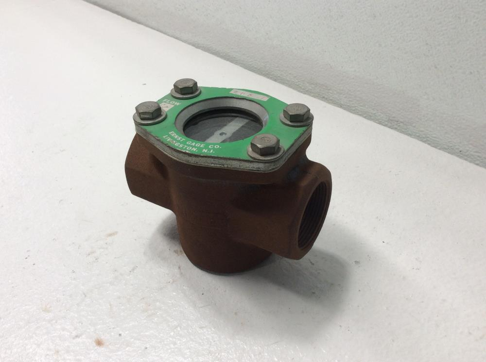 "John C. Ernst 1-1/2"" NPT Carbon Steel Sight Flow Indicator W/ Drip Tube #483"