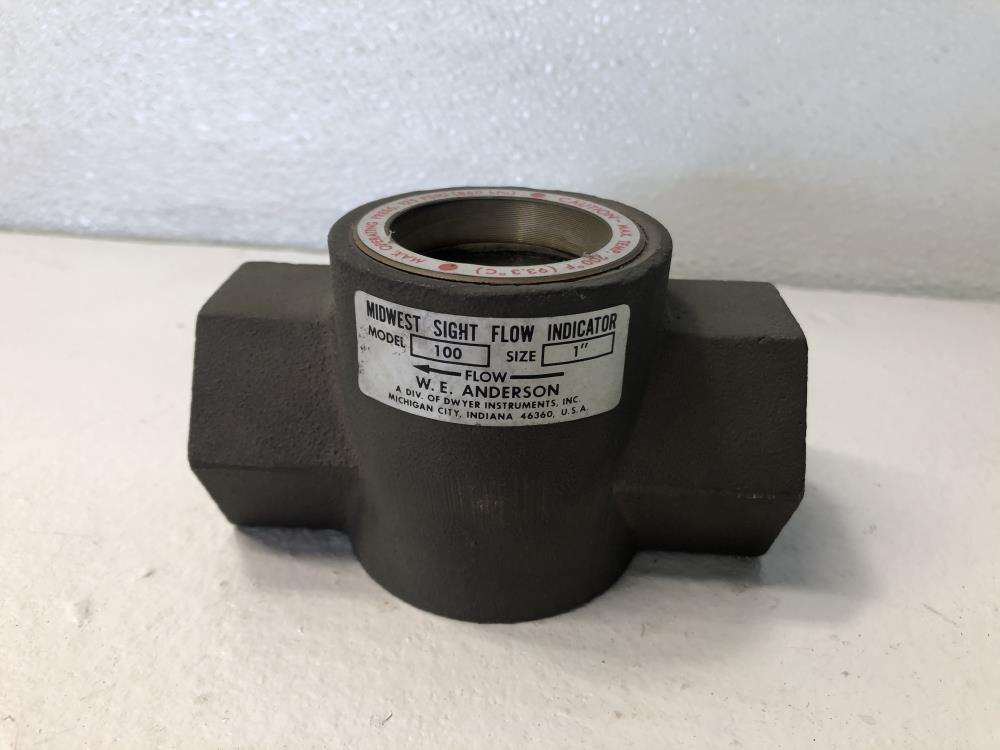 """W.E. Anderson 1"""" NPT Bronze Midwest Sight Flow Indicator W/ Rotor #100"""