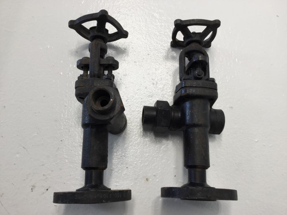 "Pair of Jerguson 1"" x 3/4"" Flanged 150# A105 Gagecock Valves 77BL"