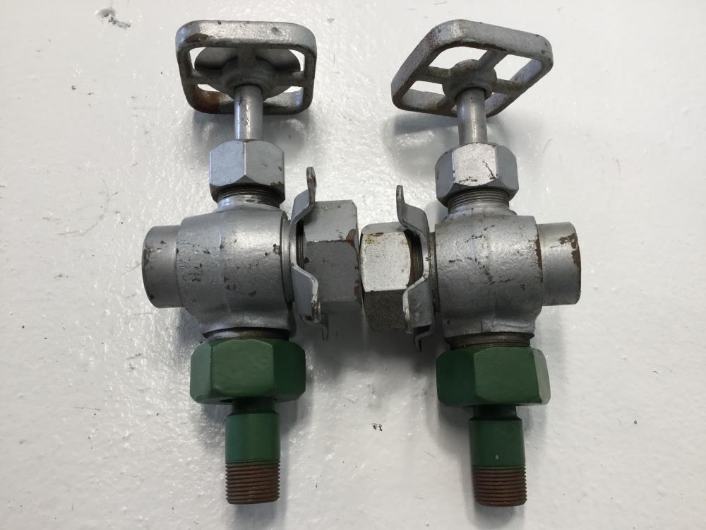 "Pair of Penberthy 1/2"" x 3/4"" Steel Gagecock Valves 64875-000, N2AJ"