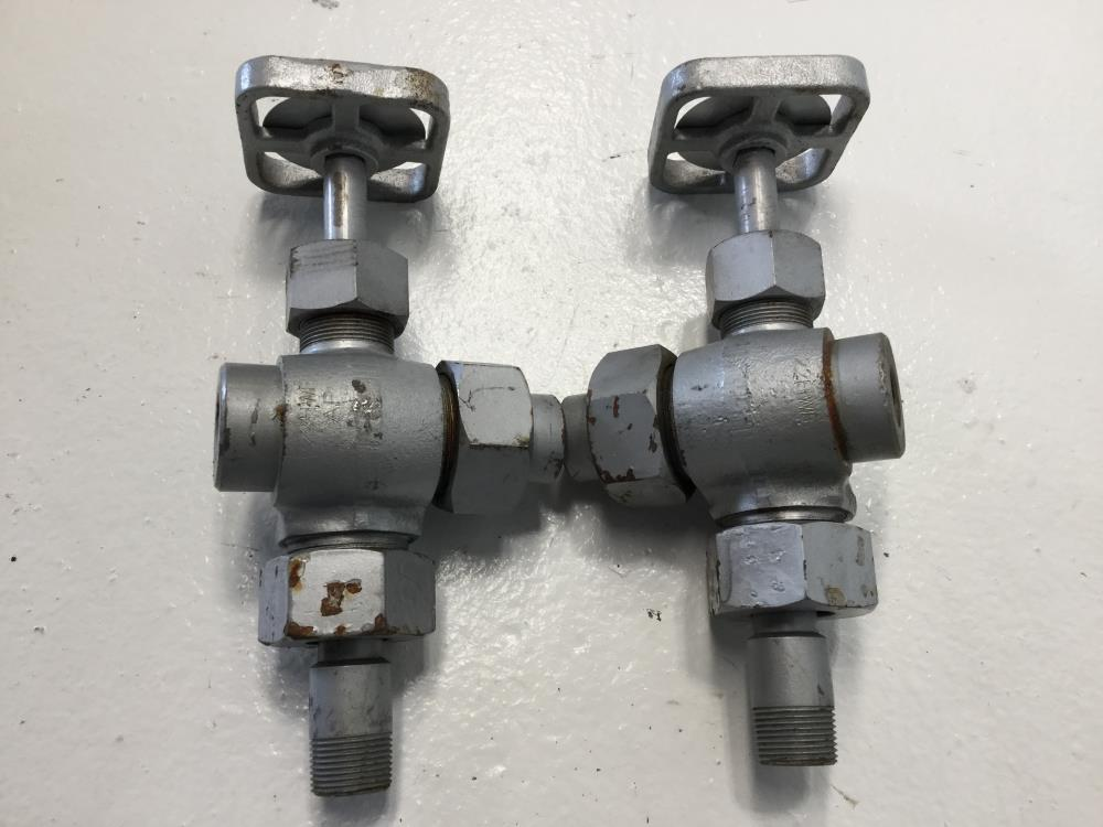 "Pair of Penberthy 1/2"" x 3/4"" Steel Gagecock Valves 7000023907, 320J"