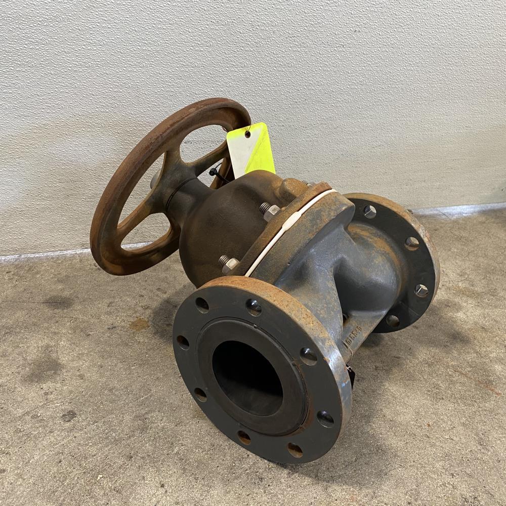 "McCanna 4"" 150# Ductile Iron Hand Operated Diaphragm Valve, J572-6-J1"