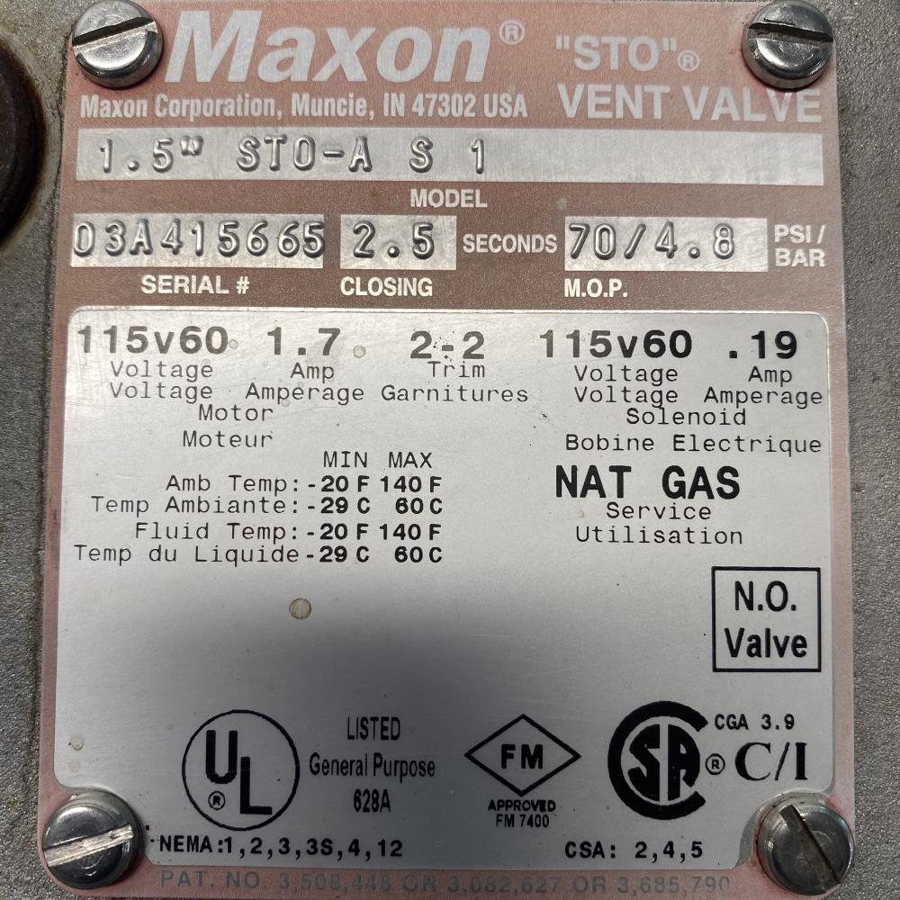 "Maxon 1-1/2"" Actuated ""STO"" Natural Gas Vent Valve, 1.5"" STO-A S 1"
