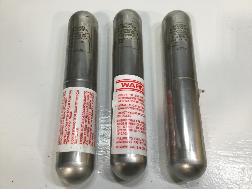 Lot of (3) Jerguson Magnicator Magnetic Level Floats F23S 12 4 .75, Stainless