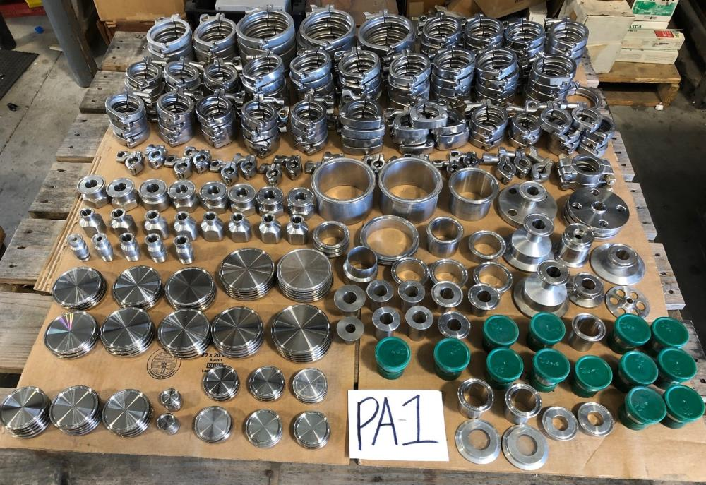 LOT (340) Stainless Steel Sanitary Clamps, End Caps, Ferrules, Adapters & More