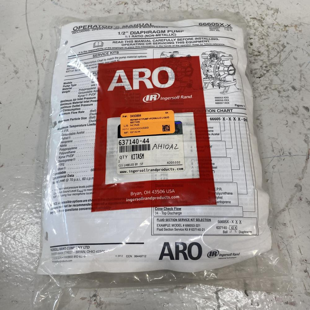 "ARO Ingersoll Rand 1/2"" Diaphragm Pump Repair Kit 637140-44"