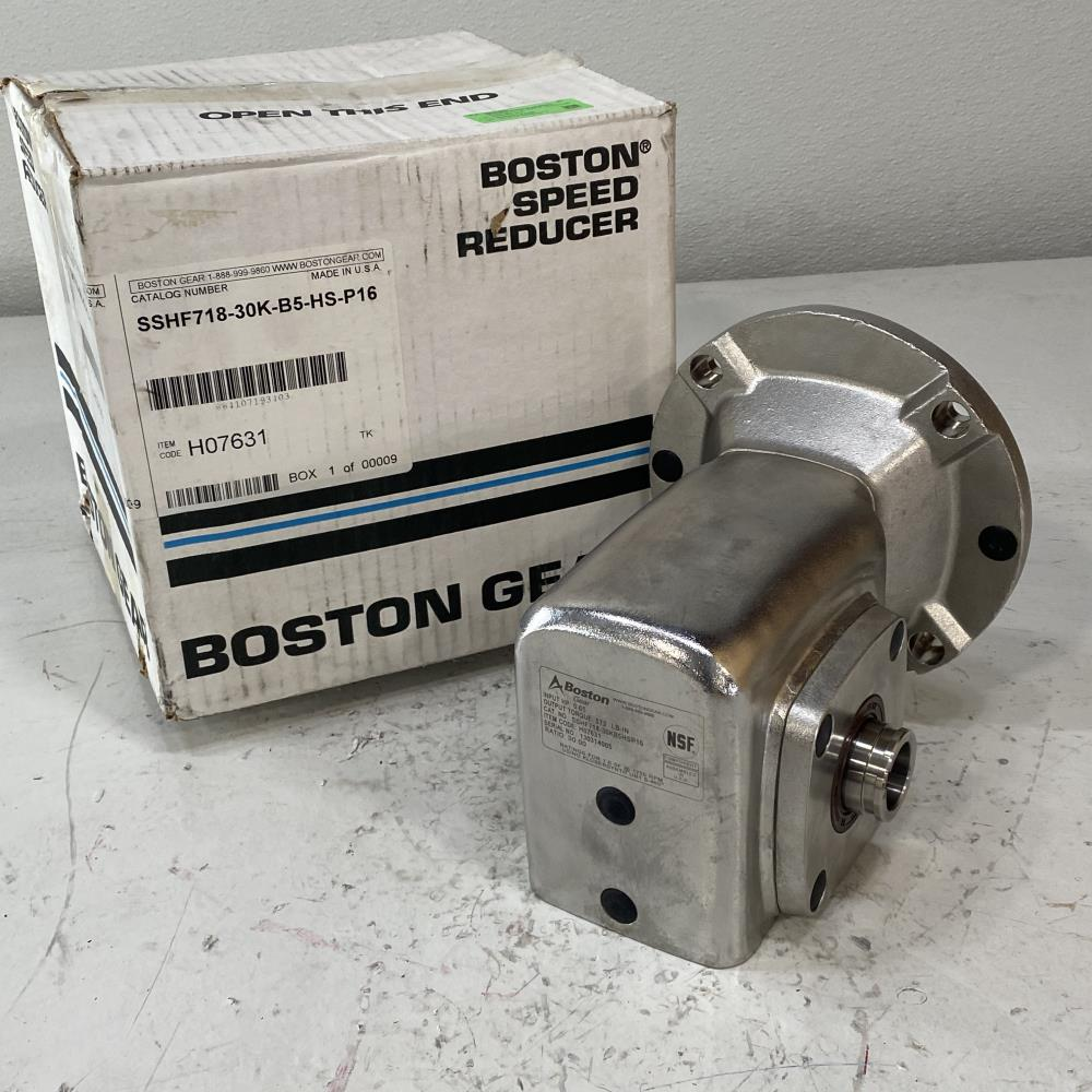 Boston Gear H07631 Worm Gear Speed Reducer, 30:1 Ratio, SSHF718-30KB5HSP16