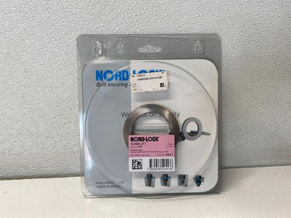 "Nord-Lock 2"" Washer, 316 Stainless Steel, NL52SS, 1147"