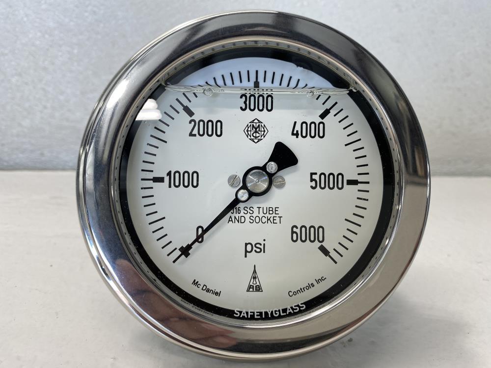 "McDaniel 4"" Face 0 - 6,000 PSI Pressure Gauge, 1/4"" NPT, Liquid Filled E6KP"
