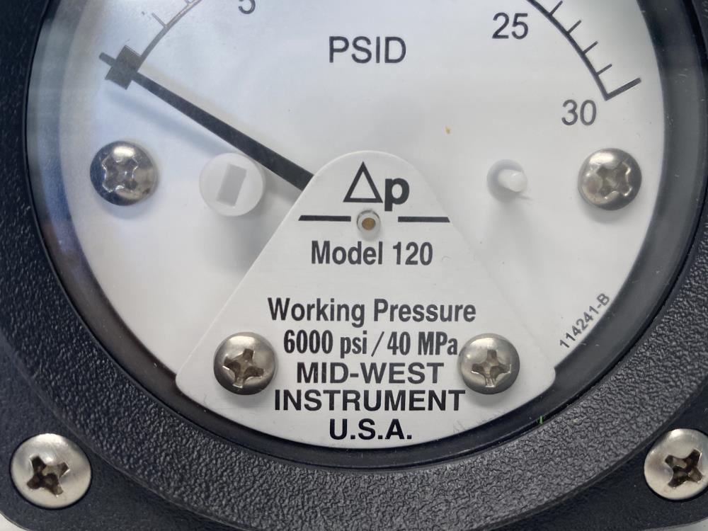 """Mid-West 2-1/2"""" Face, 0-30 PSID Differential Pressure Gauge,"""