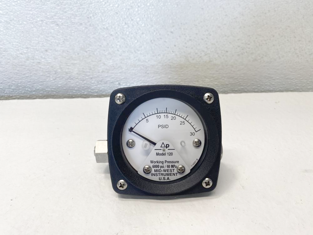 "Mid-West 2-1/2"" Face, 0-30 PSID Differential Pressure Gauge,"