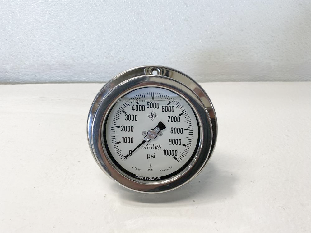 "McDaniel 4"" Face, 0 - 10,000 PSI Filled Hydraulic Pressure Gauge 1/4""NPT, EPP"