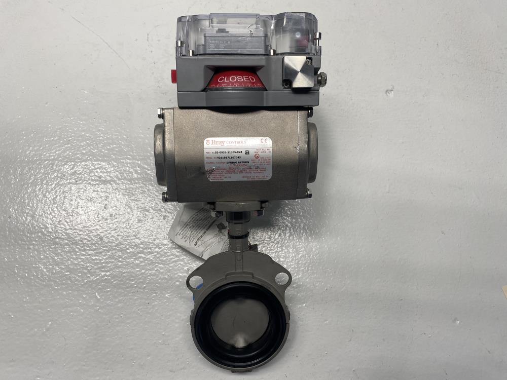 """Bray 3"""" 150# 316SS Actuated Butterfly Valve 93-8035-11305-928 w/ Axiom Monitor"""