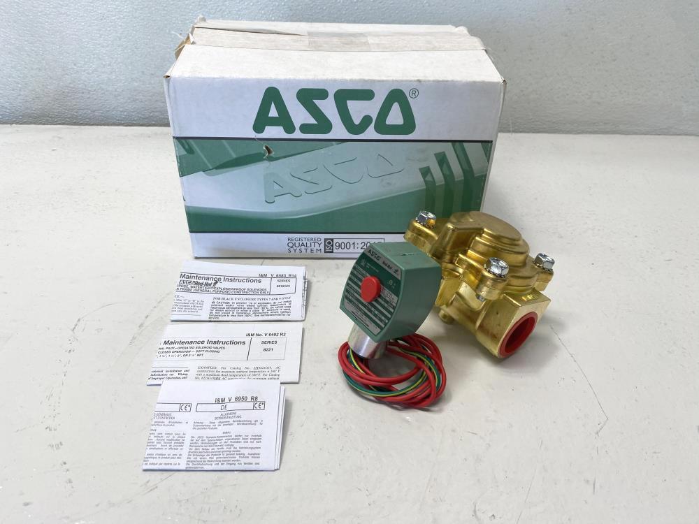 """ASCO Red Hat II 1"""" NPT 2-Way Brass Solenoid Valve 8221G007HW"""