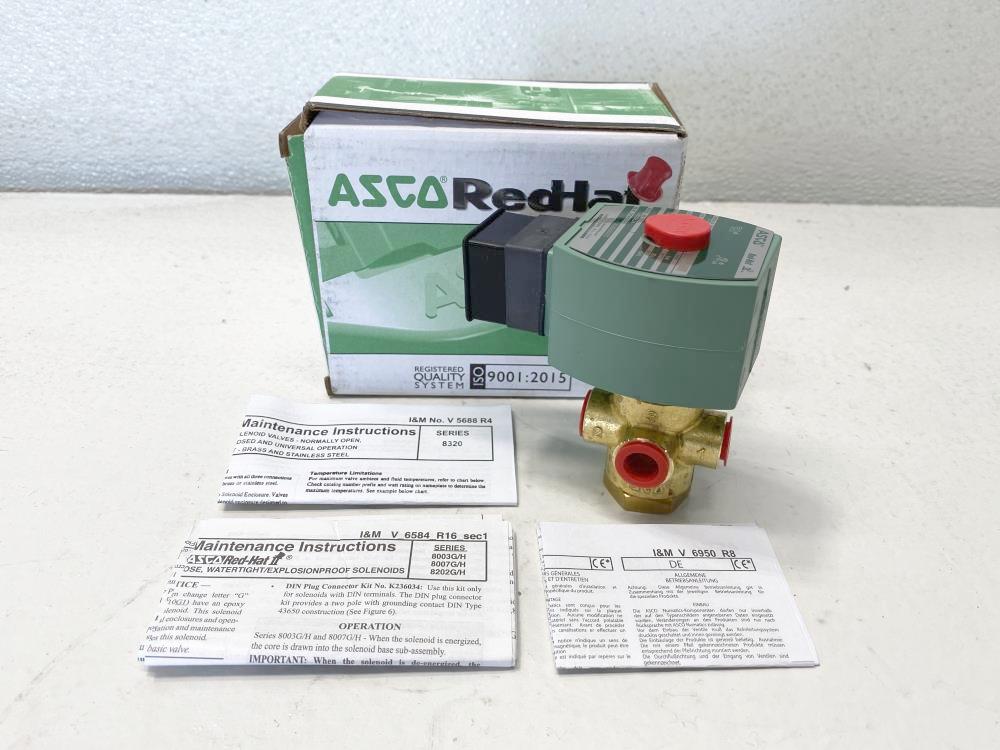"ASCO Red-Hat II 1/4"" NPT 3-Way Brass Solenoid Valve SC8320G172"