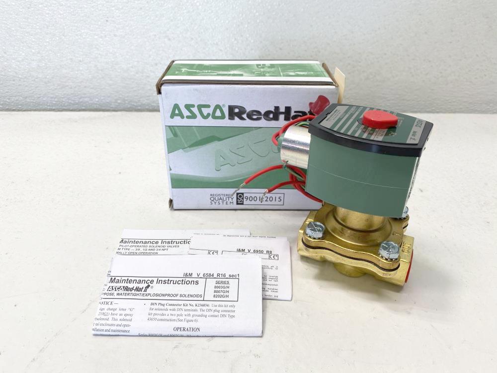 "ASCO Red-Hat II 1/2"" NPT 2-Way Brass Solenoid Valve 8210G034"
