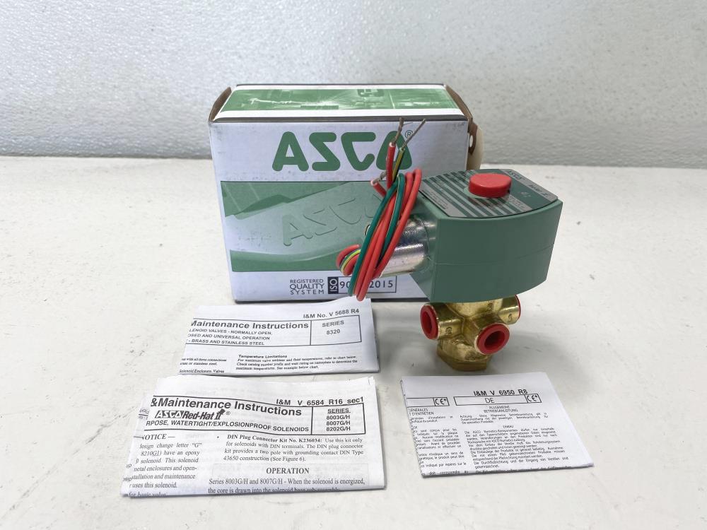 "ASCO Red-Hat II 1/4"" NPT 3-Way Brass Solenoid Valve 8320G172"