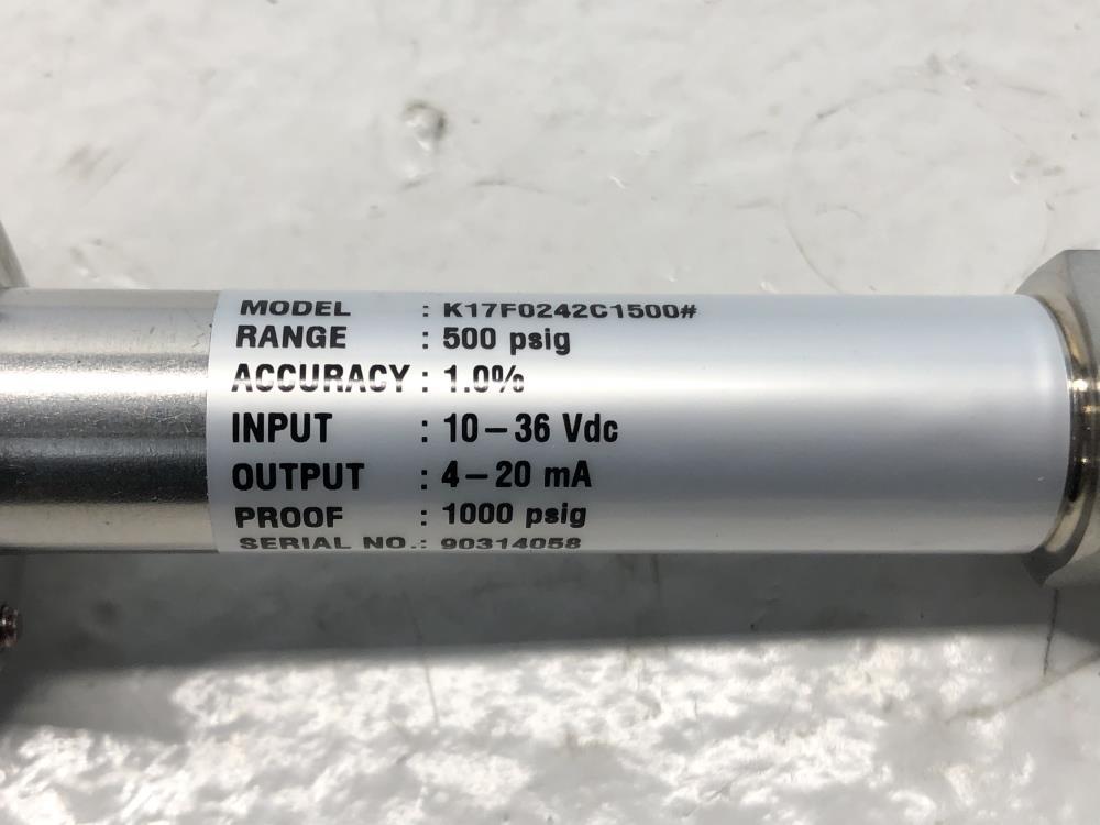 Ashcroft 500 PSIG Transducer K1-7-F02-42-C1-500#