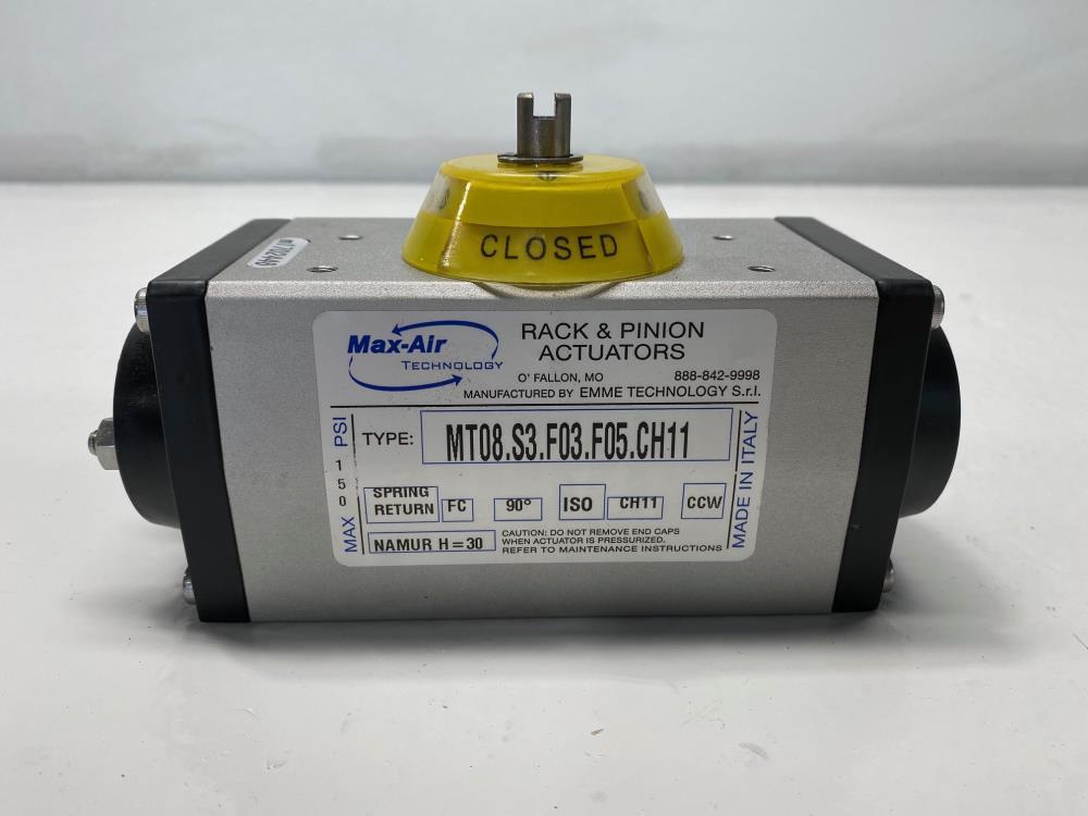 Max-Air Rack & Pinion Spring Return Actuator, Fail Close, MT.08.S3.F03.F05.CH11