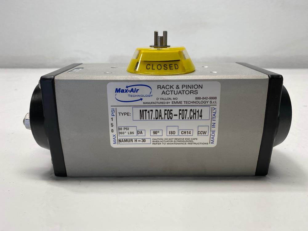 Max-Air Rack & Pinion Double-Acting Actuator, MT17.DA.F05-F07.CH14